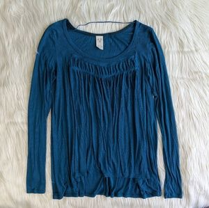 Free People Blue Long Sleeve Top size S